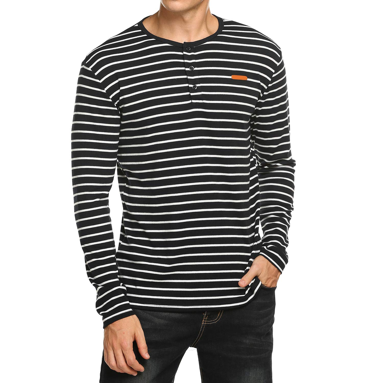 3186f8e4749 COOFANDY Men s Casual Slim Fit Shirt Long Sleeve Striped Henley Shirts