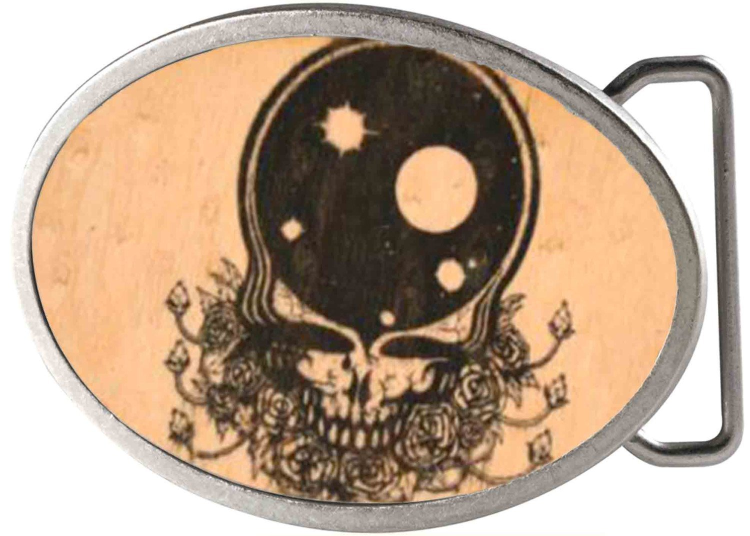 Grateful Dead Psychedelic Rock Band Wooden Galactic Skull Rockstar Belt Buckle Buckle Down