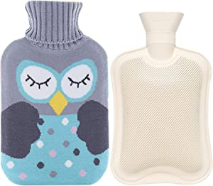 Rubber Hot Water Bottle Warmer Set 2 Liters,Heat Up and Refreezable Cold Pack with Knit Cover for Pain Relief Hot Cold Therapy,Cartoon Owl