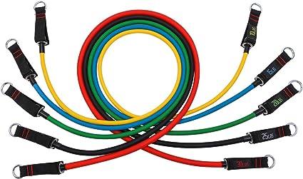 Comprar Set de Bandas de Resistencia de FitBeast, bandas elásticas para entrenar con soporte de 100lbs, Kit de Bandas para Entrenar con 5 tubos, 4 Manijas de Hule, Correas para Tobillos, Anclaje para puerta