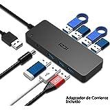 ICZI Hub USB 3.0 7 Puertos USB 3.0 Alimentacion Externa Rapida Velocidad de 5Gbps + 1* Adaptador de Corriente, Concentrador USB 3.0 para Windows, Mac OS, Linux, Negro