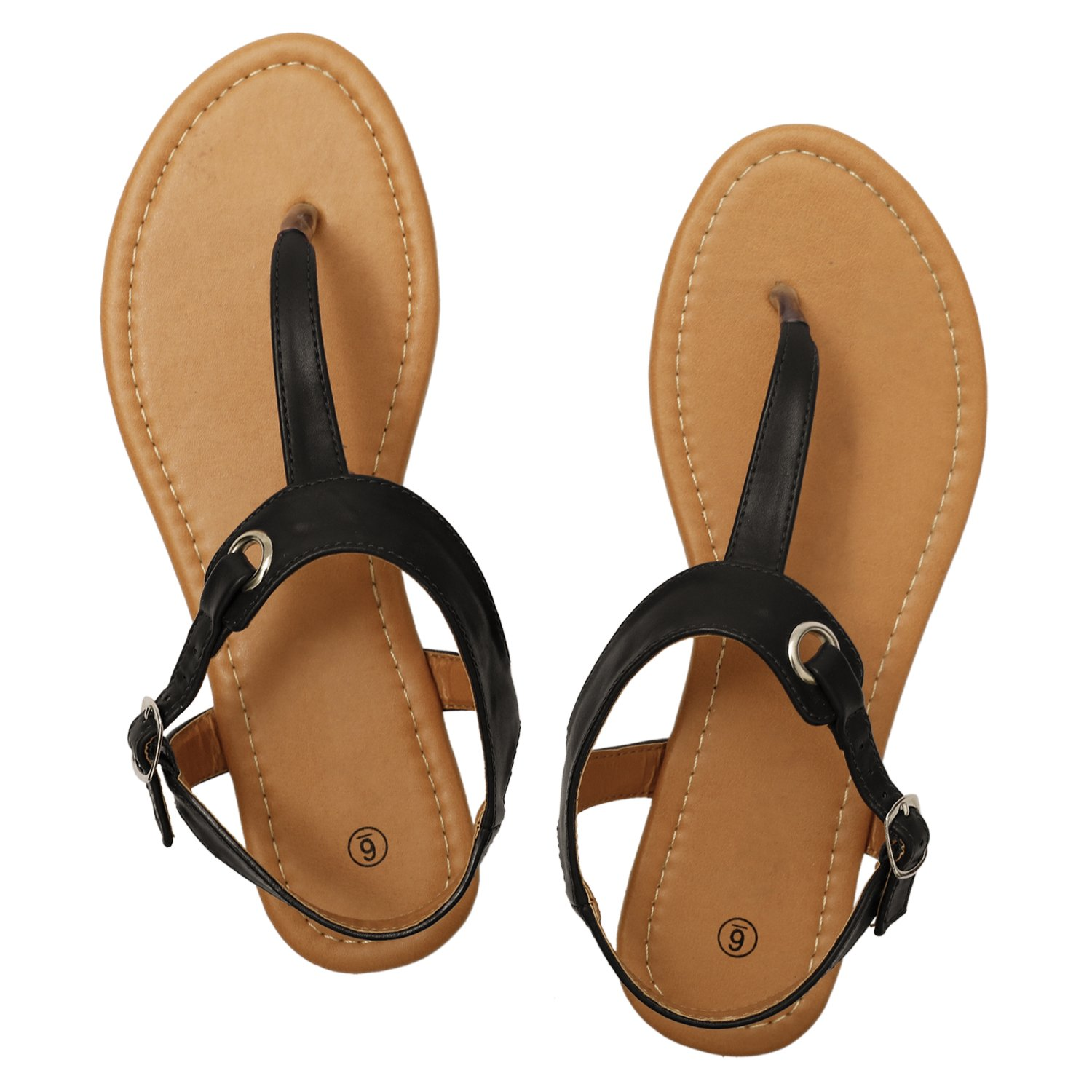Rekayla Flat Thong Sandals with T-Strap and Adjustable Ankle Buckle for Women Black 08