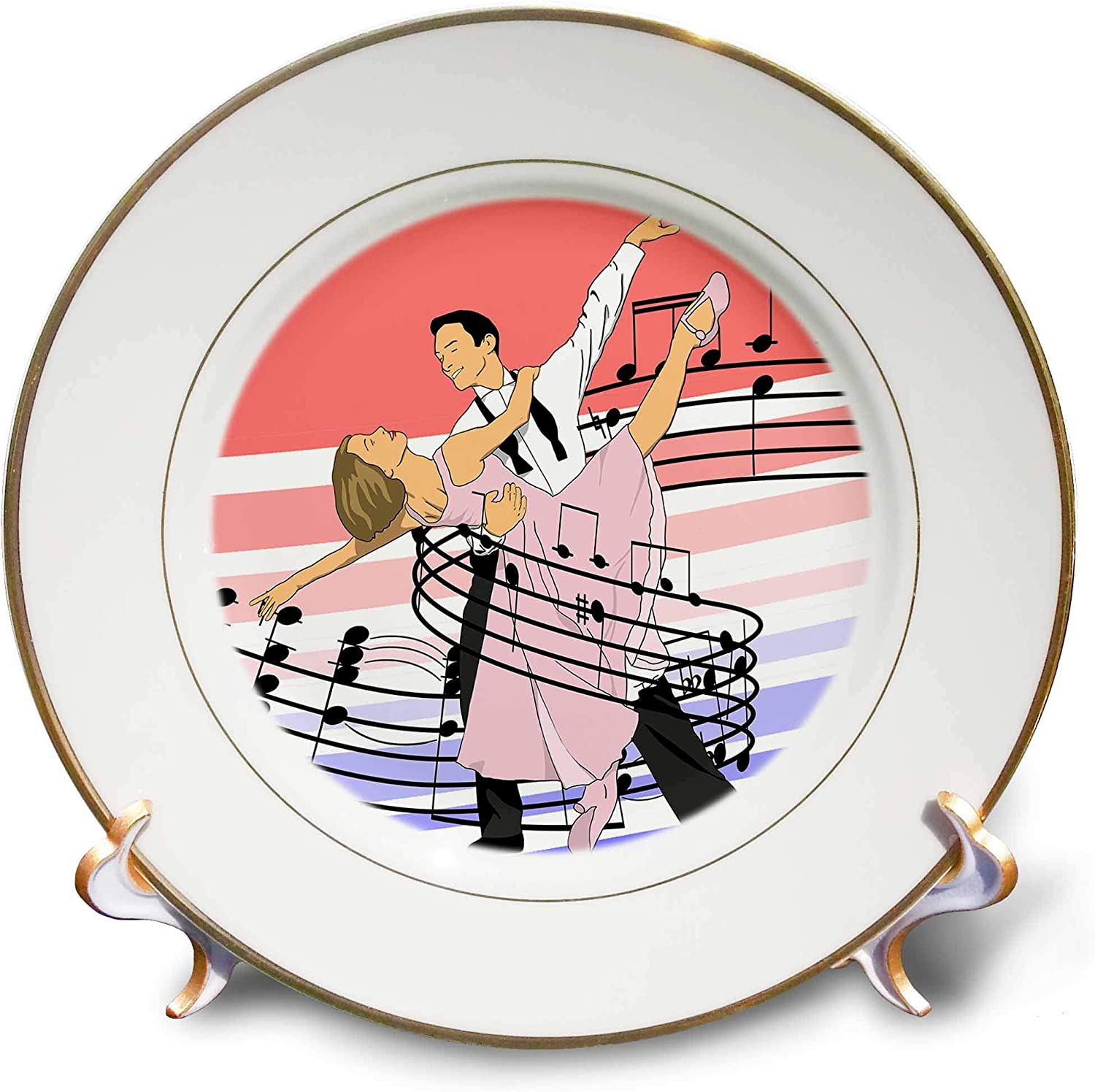 3dRose Macdonald Creative Studios – Dance - Dance Classic Ballroom Dancing of Dance Partners Wrapped in Music - 8 inch Porcelain Plate (cp_323207_1)