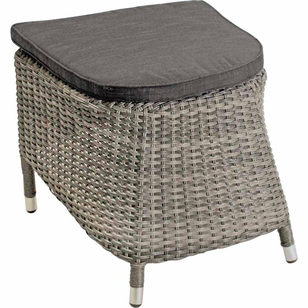 lifestyle4living Hocker aus Polyrattan in Greige mit Sitzkissen für Terrasse oder Garten. Variabel einsetzbar als Fußbank, Beistellhocker durch Auflagekissen.