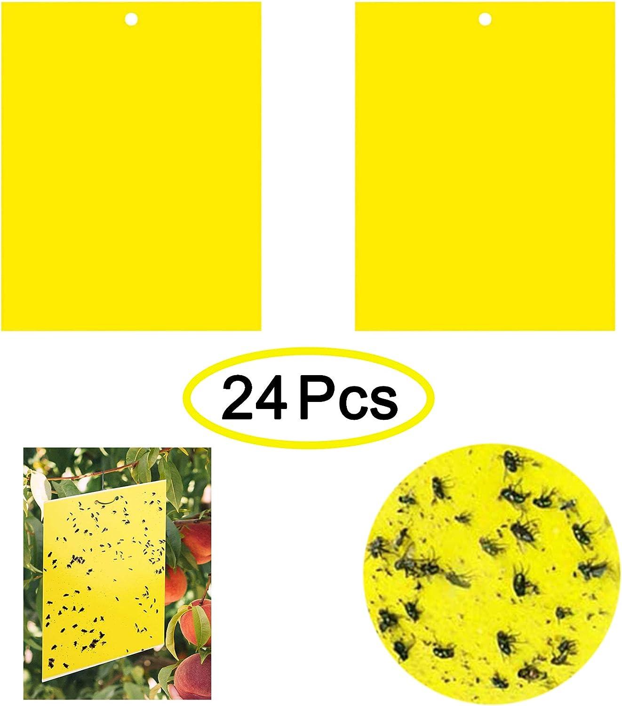 Trampas Insectos Pegamento Insectos Paquete Trampa Caza Atrapa Voladores Moscas Mosquitos Adhesivas Adhesivo de Doble Cara 24 Piezas Papeles Pegajosos Amarillos Atrapamoscas Jardin 20x15cm