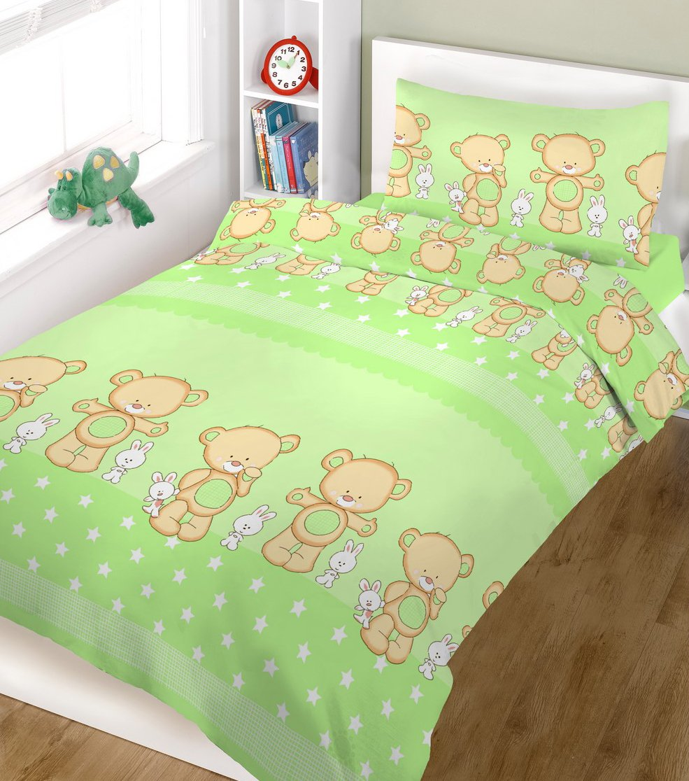 BlueberryShop Baby Cot Duvet and Pillow Covers Bedding Set, 150 x 120 cm, Green, 2-Piece Blueberry Shop for Babies 50011006