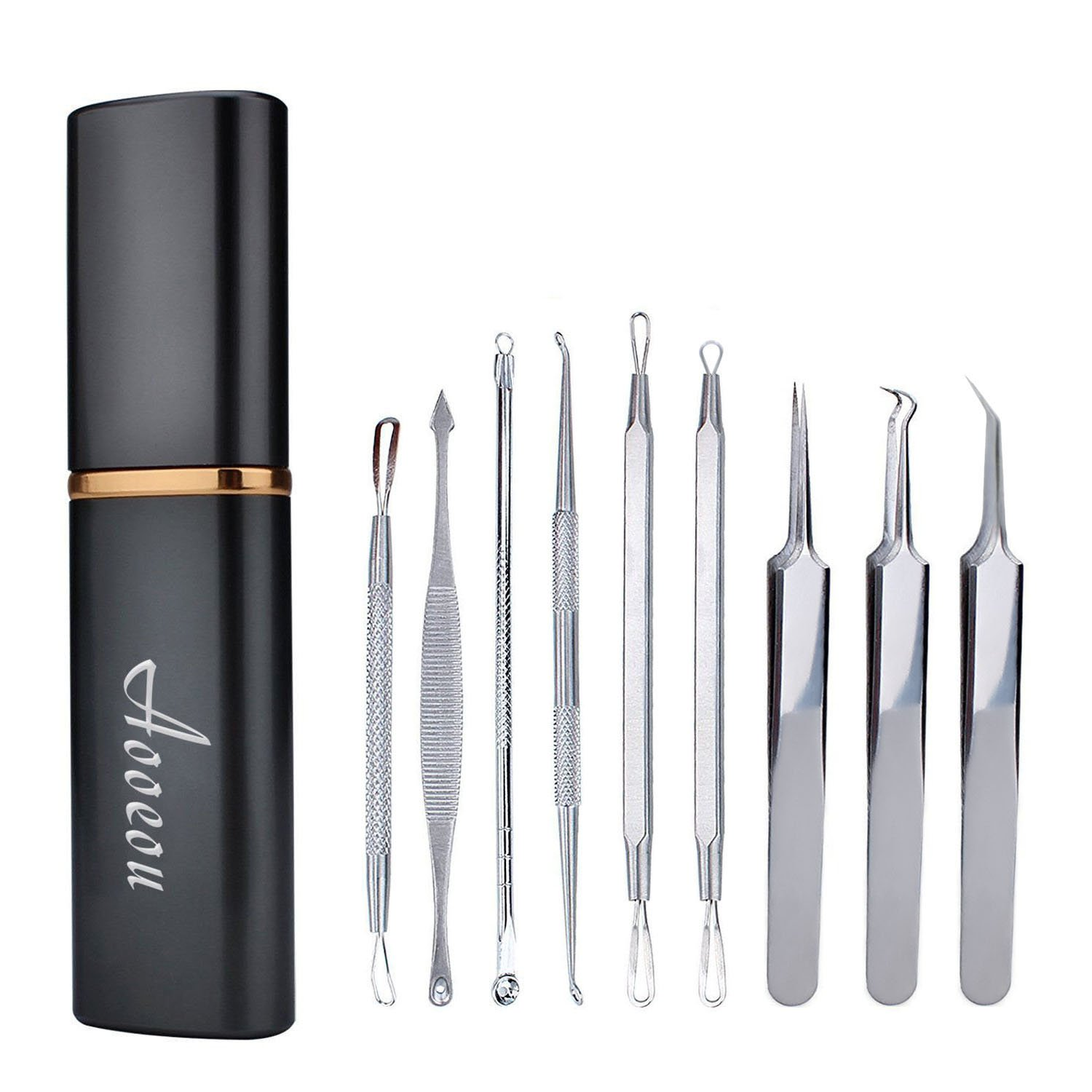 Blackhead Extractor kit, Remover Acne Tool Professional Stainless Steel Comedone Extractor Instrument Tool Set for Curing Facial Aooeou