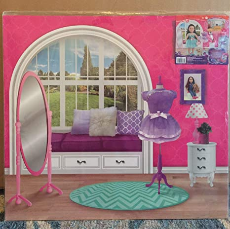 "Reversible Background Playset for 18/"" Doll,School//Bedroom New My Life As A Doll"