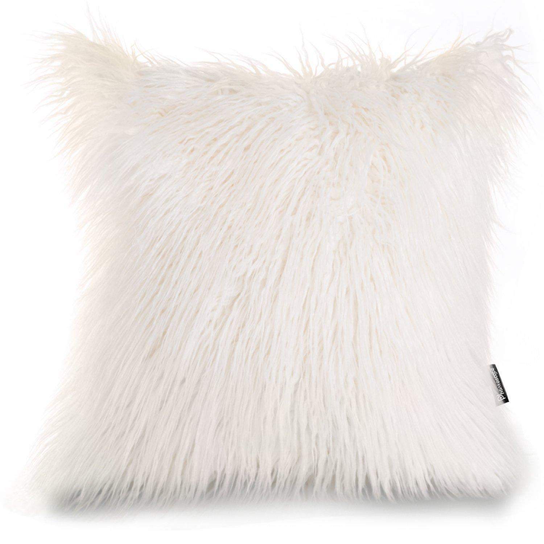 PHANTOSCOPE Decorative New Luxury Series Merino Style Fur Throw Pillow Case Cushion Cover 18'' x 18'' 45cm x 45cm (Off-White)