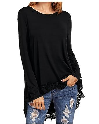 a0f0ee8ba1d CNFIO Women s Long Tunic Shirts Lace Hem Oversized Loose Tops Blouses  Dresses Black S