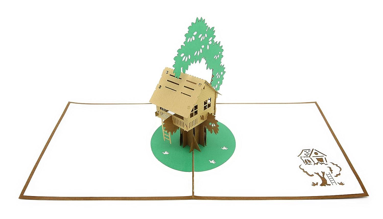 PopLife Cards Maison de l'arbre 3d pop up carte de voeux pour toutes les occasions - amusant de cour, diy aventures - plis plat, parfait pour l'envoi - fête des pères, anniversaire, se rétablir, anni