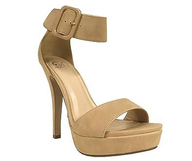 a5d4391e980 Delicious Zelena! Women's Open Toe Bold Ankle Strap Buckle Stiletto  Platform Sandals