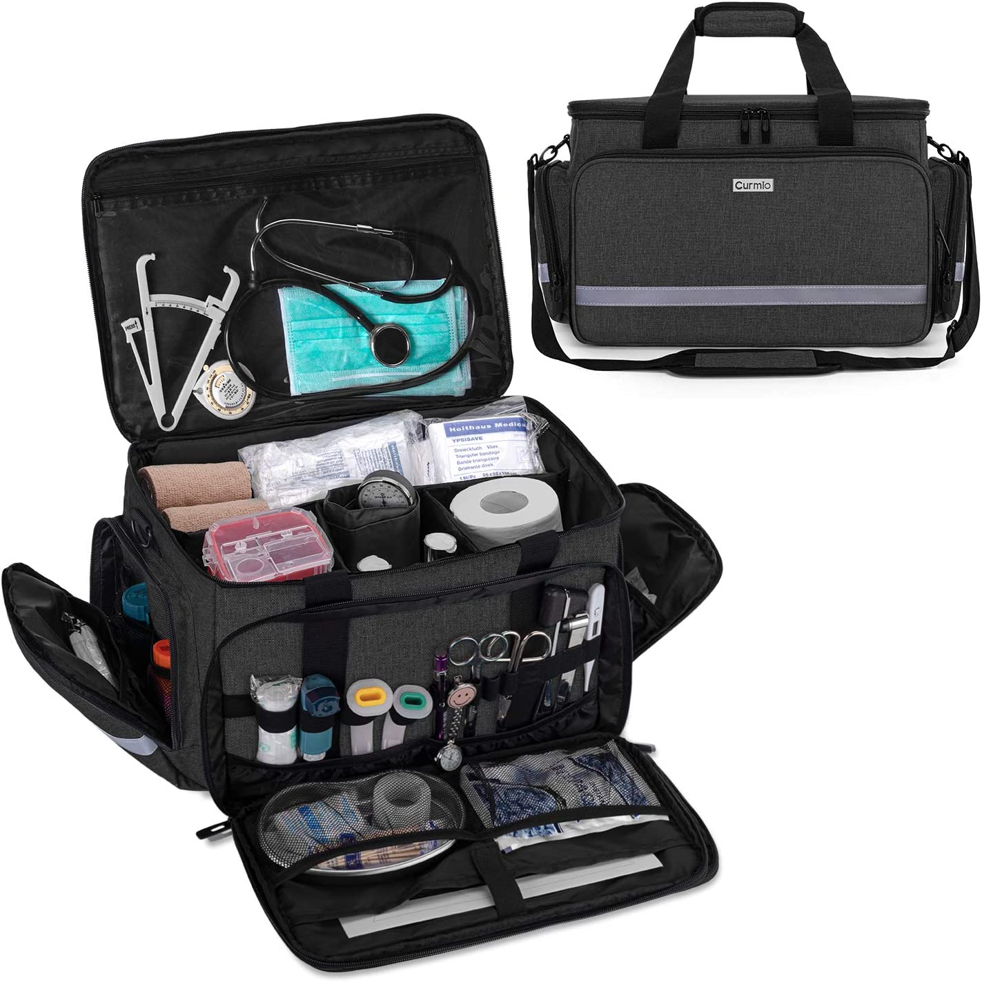 CURMIO Nurse Bag, Medical Bag Clinical Bag with Inner Dividers and No-Slip Bottom for Home Visits, Health Care, Hospice, Gift for Nursing Students, Physical Therapists, Doctors,Black