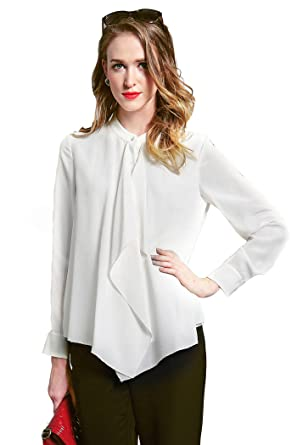 Image Unavailable. Image not available for. Color  VOA Women s White Silk  Stand Collar Long Sleeve Shirt Blouse Top B6110 df65257ab