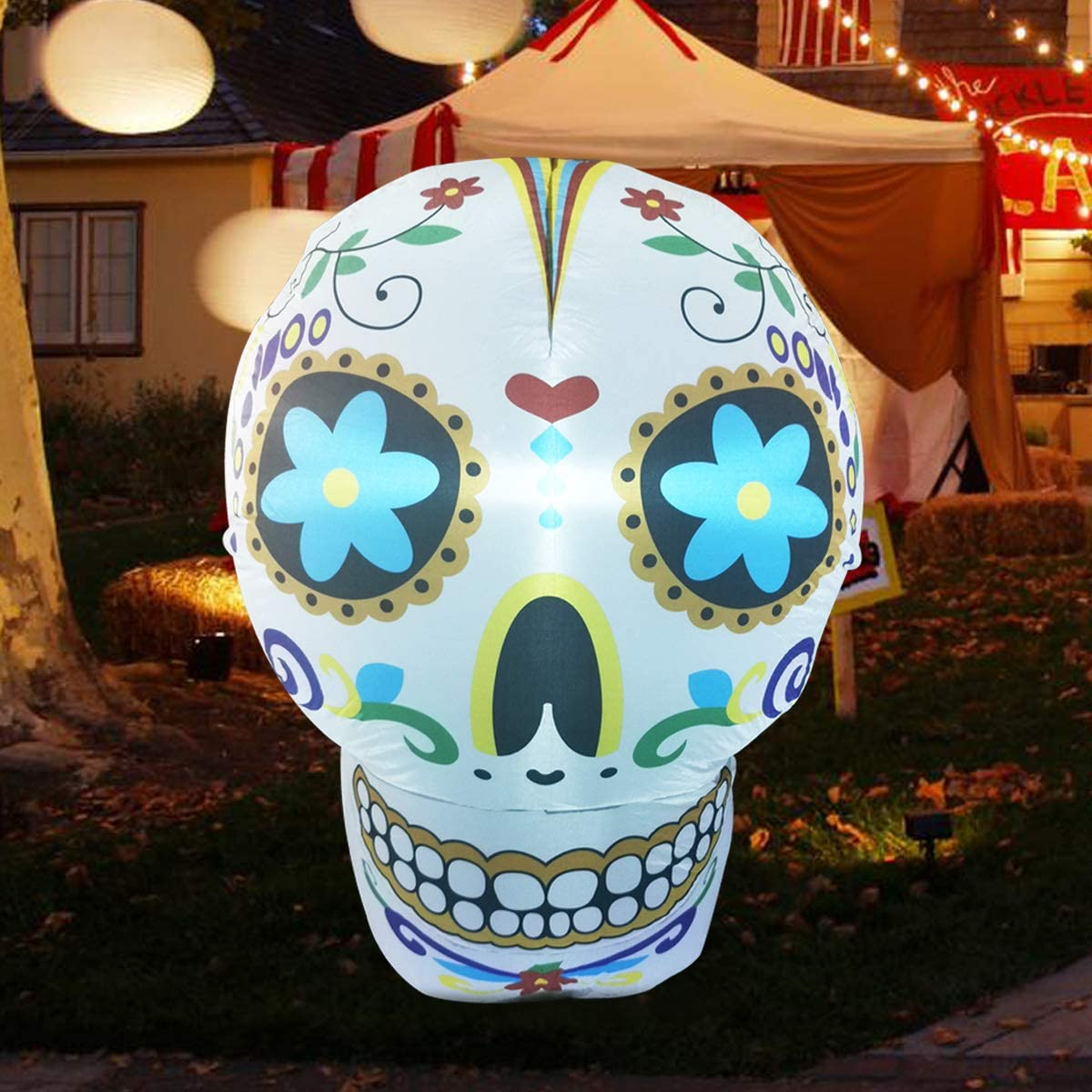 COMIN 4Foot High Christmas Inflatable Skull Blow up Yard Decoration, Indoor Outdoor Garden Christmas Decoration.