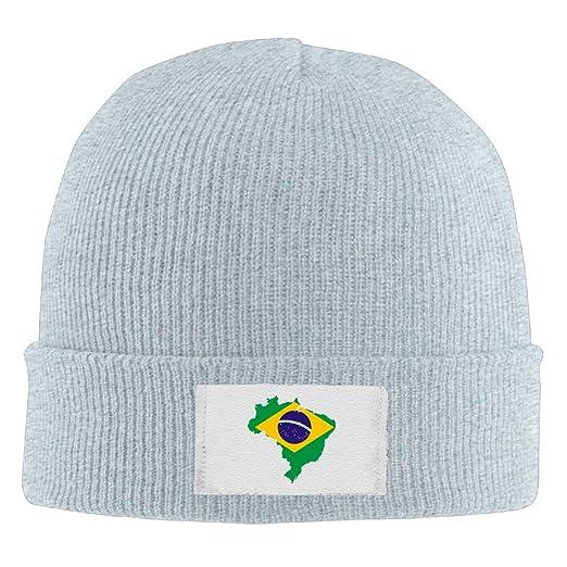 Men Women Flag Map Of Brazil Warm Stretchy Knit Wool Beanie Hat Solid Daily  Skull Cap eb920fe8ff4
