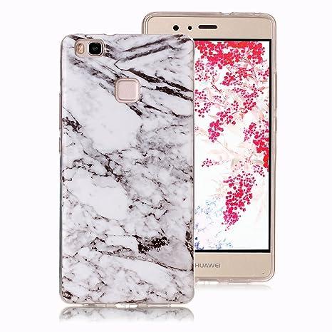 Funda Mármol para Huawei P9 Lite, Ronger Carcasa Gel TPU Silicona Marble Case Cover Funda Ultra Fino Flexible con Patrón de Piedra para Funda Huawei ...