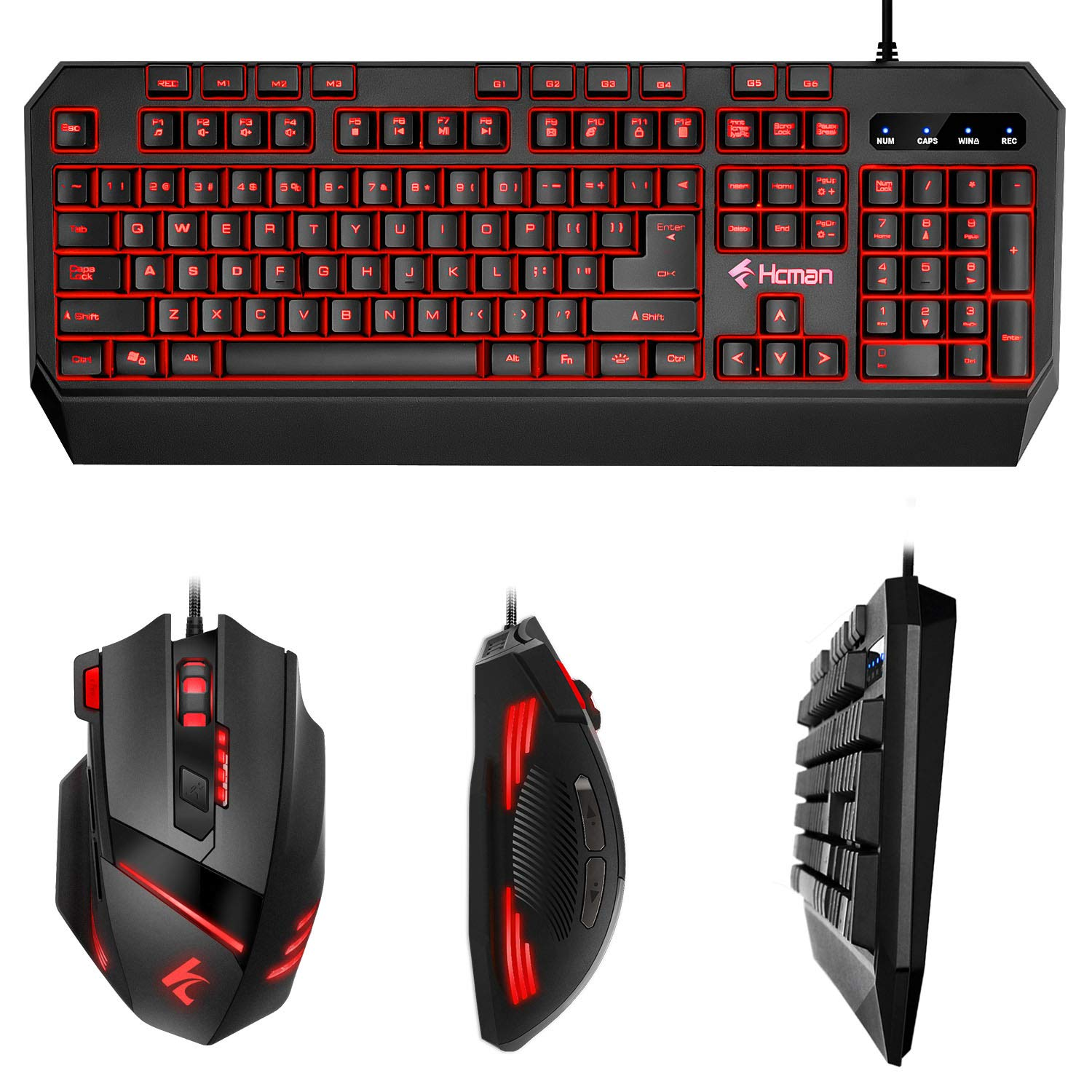 Gaming Keyboard Mouse LED Combo - Hcman 18 Different Macro Keys,Backlit  Wired Membrane Keyboard & Programmable 7 Buttons & 5 DPI Mode USB Gaming