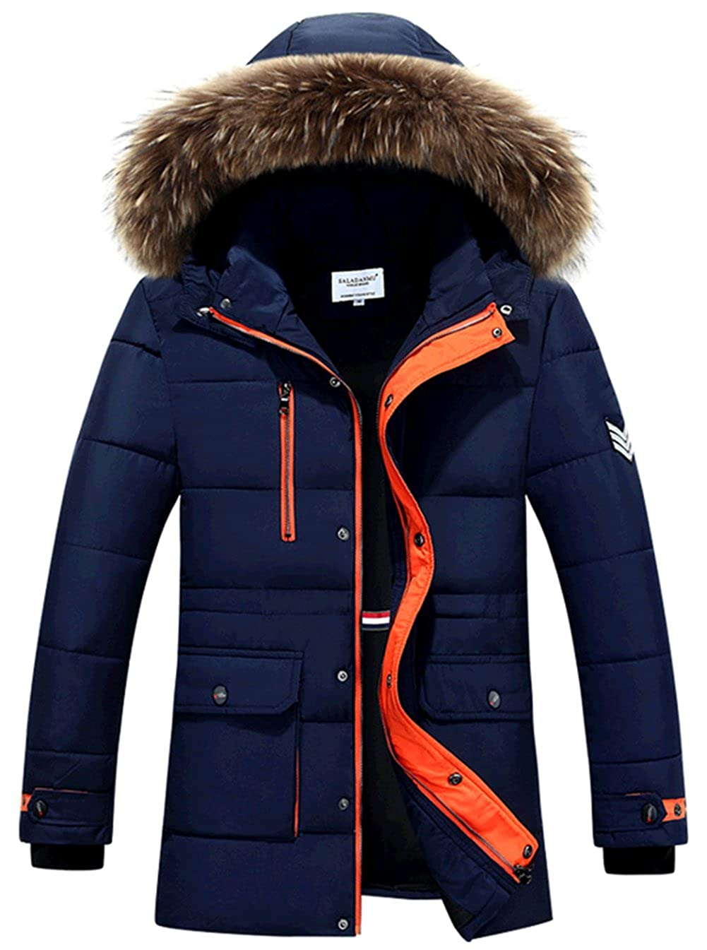 K3K Hot! New Winter Men's Fur Collar Fashion Long Hood Warm Coat