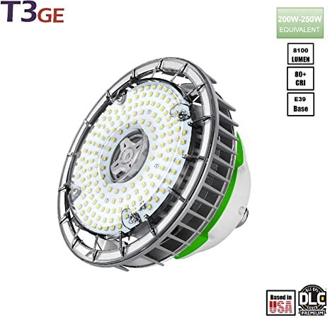 T3 Green Energy UFO High Bay LED Light 60W UFO Shop Light, 8100 Lumens, E39 Mogul Base MH/HID Replacement, Clear Lens, ...