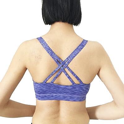 LOKOUO Bras Lokouo Sports Bra Shockproof Printed Cross Braiding Yoga Bra Yoga Underwear