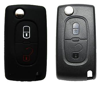 1 x llave de coche móvil – Peugeot/Citroen – 2 botones – Carcasa de silicona – Mando a distancia – Llave Móvil – Key Cover – Funda – Llaves – Carcasa ...