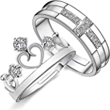 Moneekar Jewels 925 Sterling Silver Plated Prince And Princess Crown Couple Rings For Women & Men