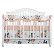 Sahaler Crib Rail Cover, Floral Crib Protector from Chewing, Crib Rail Teething Guard, Crib Wrap for Nursery Baby Crib - Ruffle Feather Floral