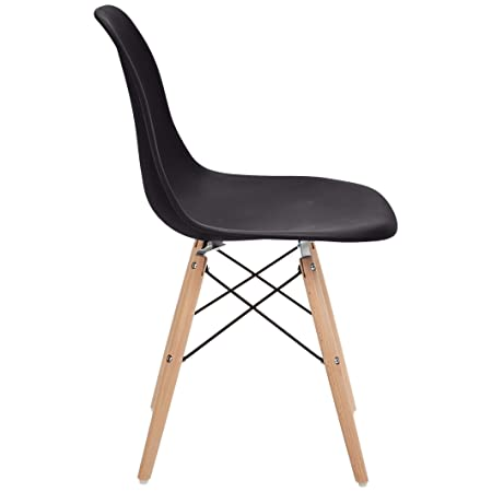 Phoenix Home Kenitra Contemporary Plastic Dining Chair, Matte Black