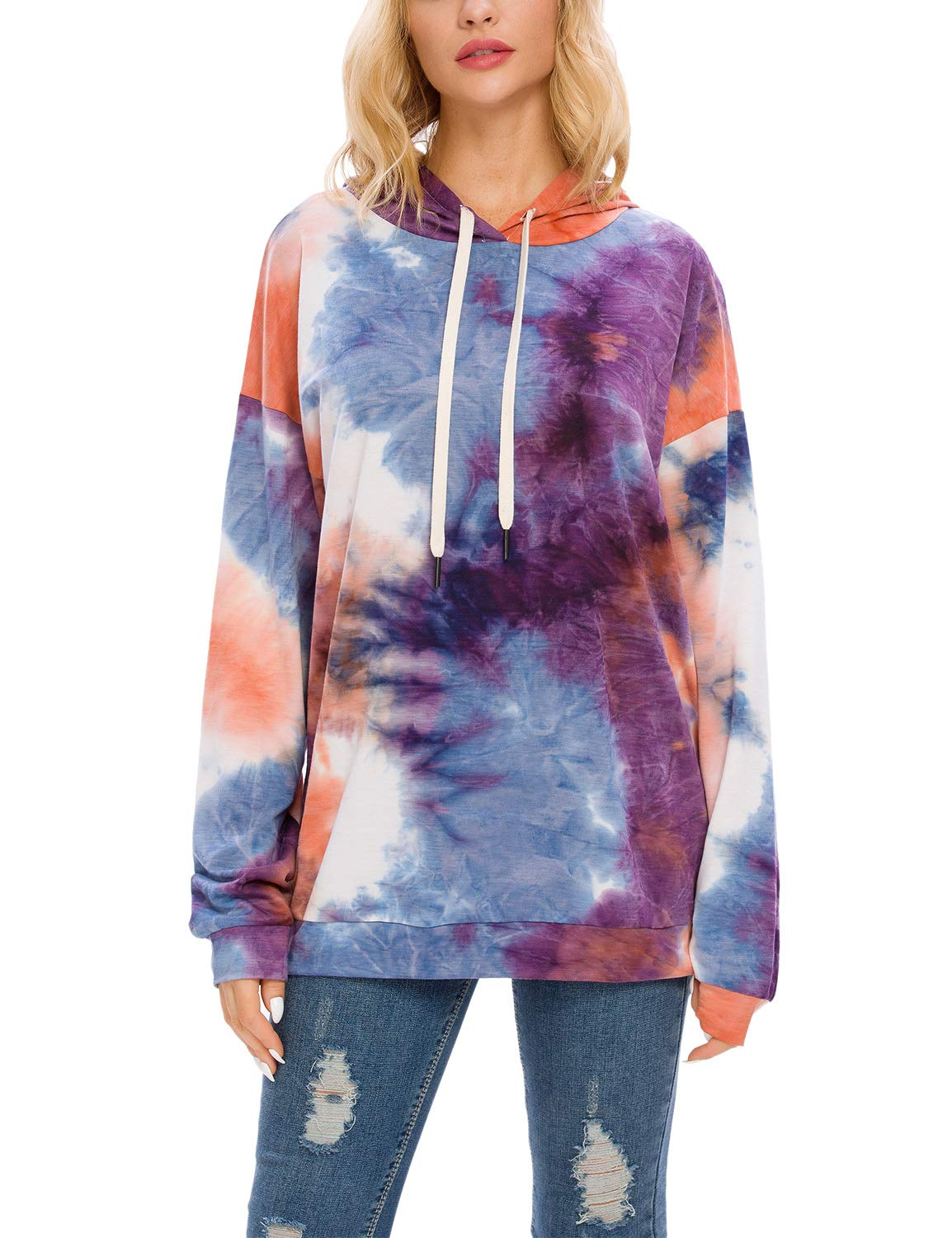 Blooming Jelly Women's Pullover Tie Dye Hoodie Hooded Crew Neck Sweatshirt Ombre Top(S, Hooded)