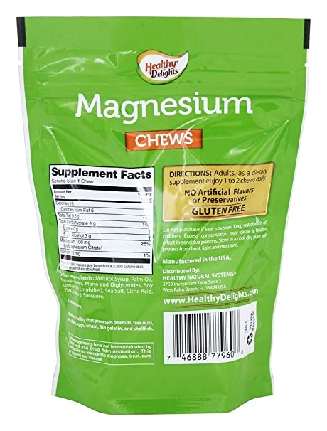 Amazon.com: Healthy Delights Magnesium Chews Orange Cream 30 chews: Health & Personal Care