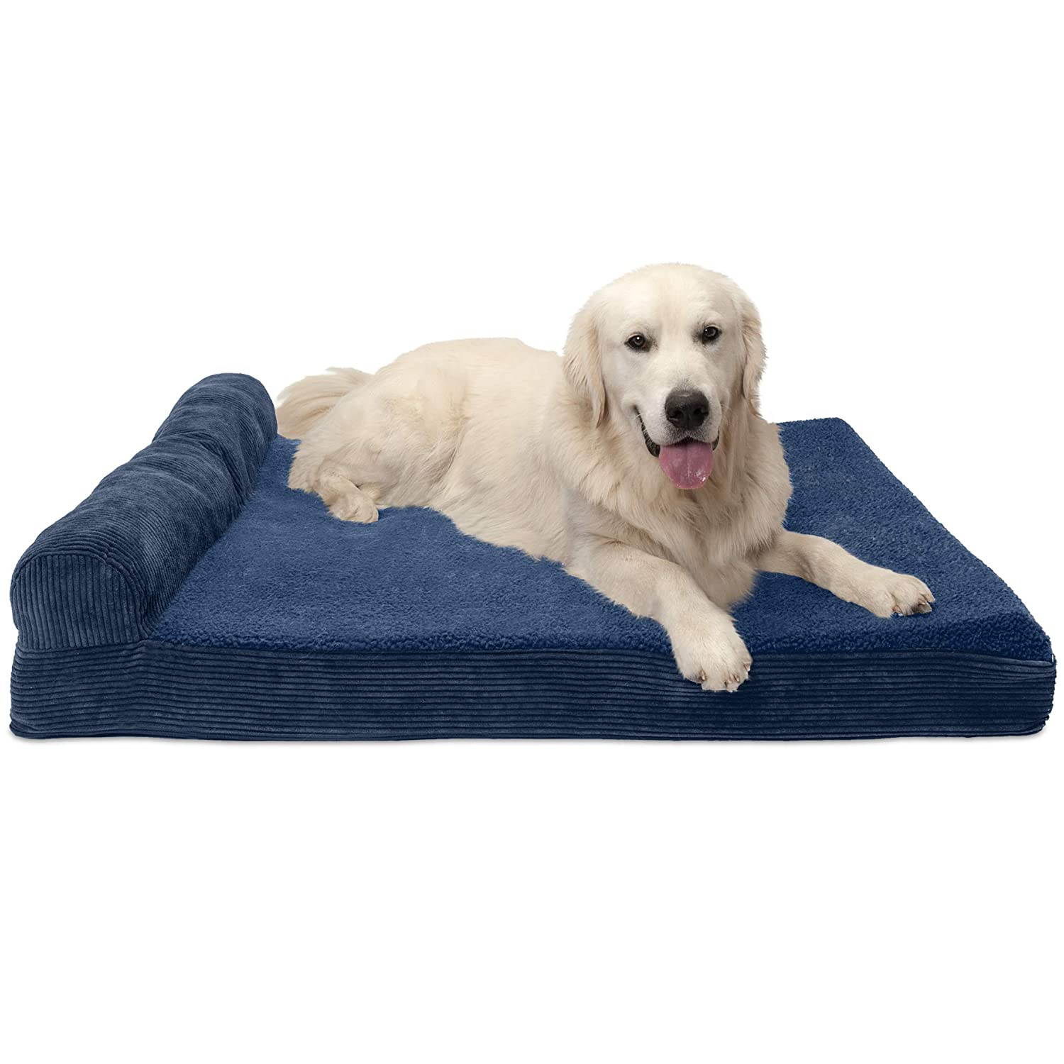 Furhaven Pet Dog Bed   Cooling Gel Memory Foam Orthopedic Faux Fleece & Corduroy Lounge Pet Bed for Dogs & Cats, Navy, Jumbo