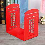 Bookends Non-Slip Heavy Metal Durable Sturdy Strong Books Organizer Telephone Booth Bookshelf Decor Decorative Bedroom Library Office School Supplies Stationery Children Gift (LondondTele-Red)