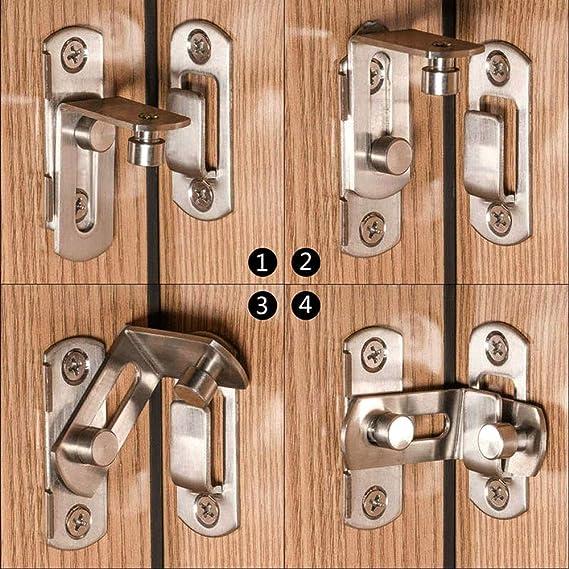 2 grandes hebillas del pestillo de la puerta de ángulo recto de 90 grados pestillos curvados pernos de la palanca de bloqueo deslizante para puertas y ventanas: Amazon.es: Bricolaje y herramientas