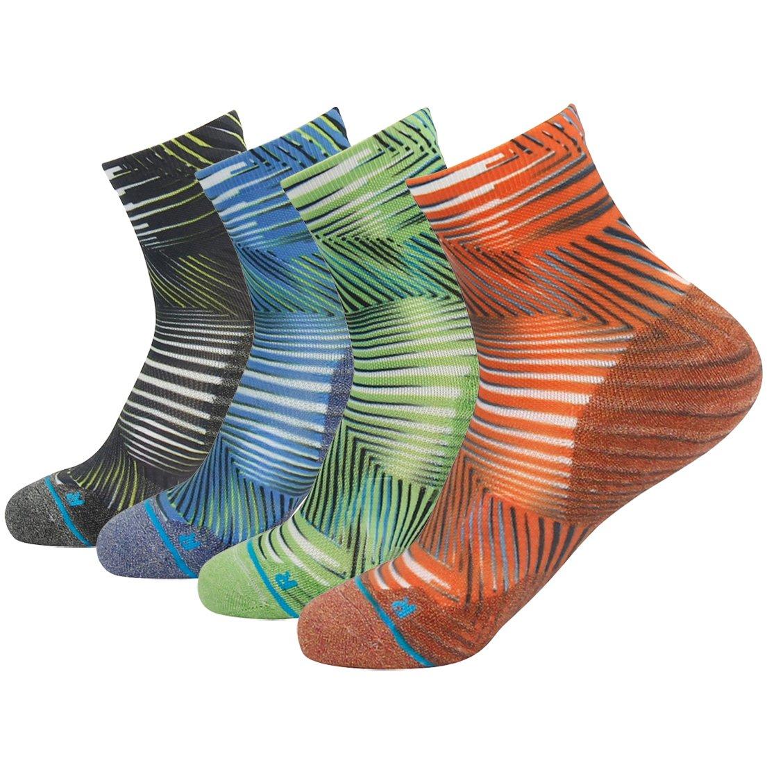 HUSO Men Women Performance Novelty Cushion Athletic Hiking Running Crew Socks 1,4,6 Pair Multi Color