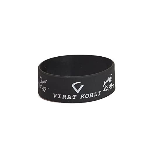 Techpro Silicone Wristband with Virat Kohli Design, 20x2cm (Black)