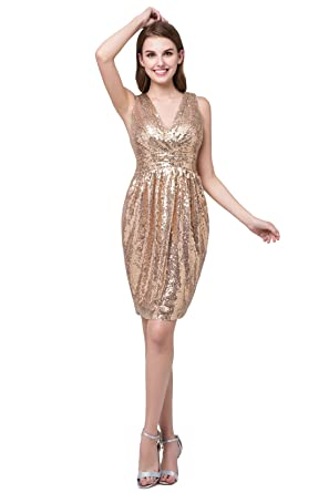 DEFEINA Gold Sequins V Neck Short Bridesmaid Dresses Plus Size Prom Dresses