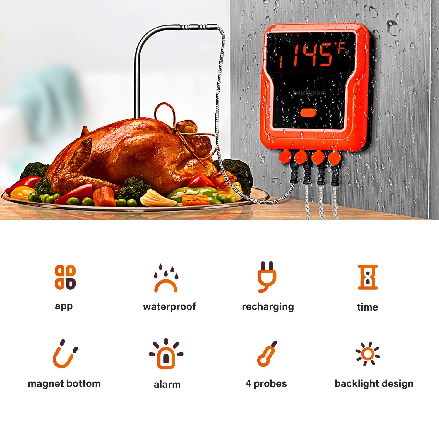 Inkbird 150ft Waterproof BBQ Grill Meat Thermometers IBT-4XP with Timer, Alarm 1000mAh Li-Battery and USB Charging Cable, Wireless Grilling Thermometer for Smoker, Barbecue,Oven, 4 Probes by Inkbird (Image #3)