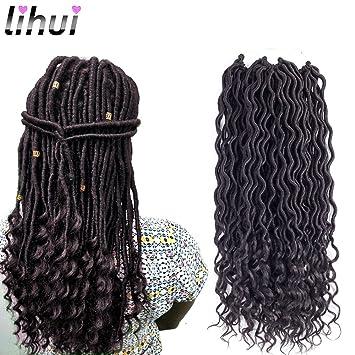 Amazoncom Lihui 6pcslot Goddess Locs Crochet Hair Wavy Faux Locs