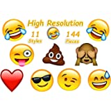 4E's Novelty 144 2 inch Temporary Emoji Tattoos - 12 Assorted Emoticon Easy To Remove Fun Tattoo - Great Treats For Your Party! Kid Friendly