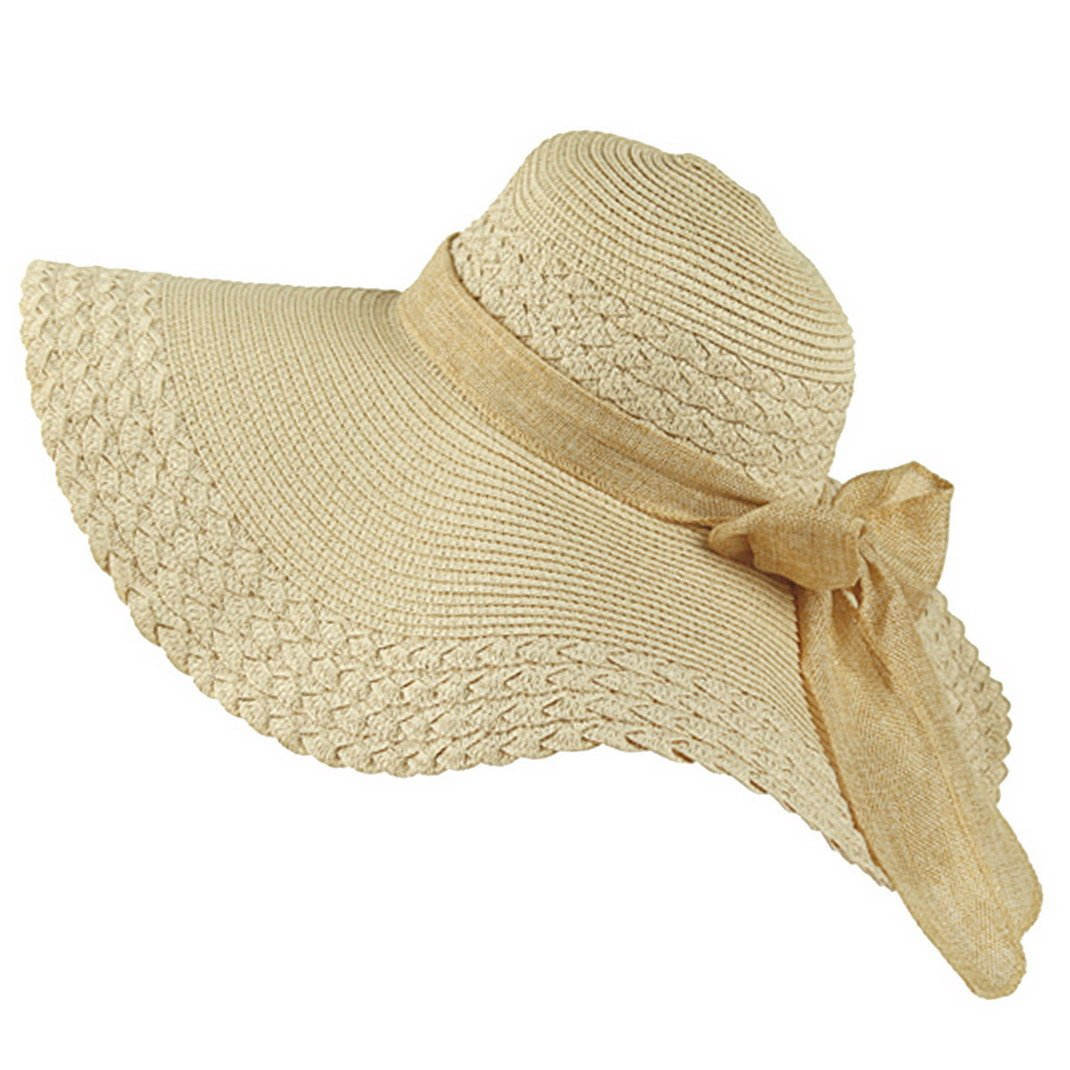 Aivtalk Girls Summer Straw Wide Brim Beach Sunshading Hat with Bowknot Cream-Coloured