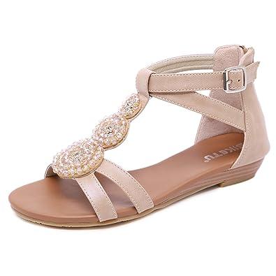 2e86bc8e48e Orangetime Gladiator Sandals for Women│Comfort Bohemian Low Heeled Wedge  Sandals T Strap Ultra Soft