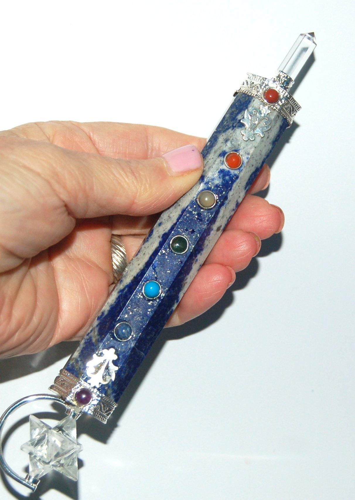 Large Beautiful Ornate Lapis Lazuli Merkabah Merkaba Healing Chakra Wand by Healing Crystals India