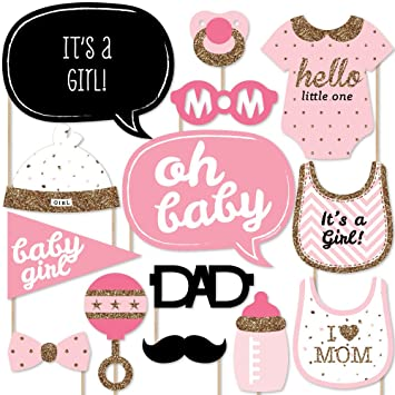 Captivating Hello Little One   Pink And Gold   Girl Baby Shower Photo Booth Props Kit