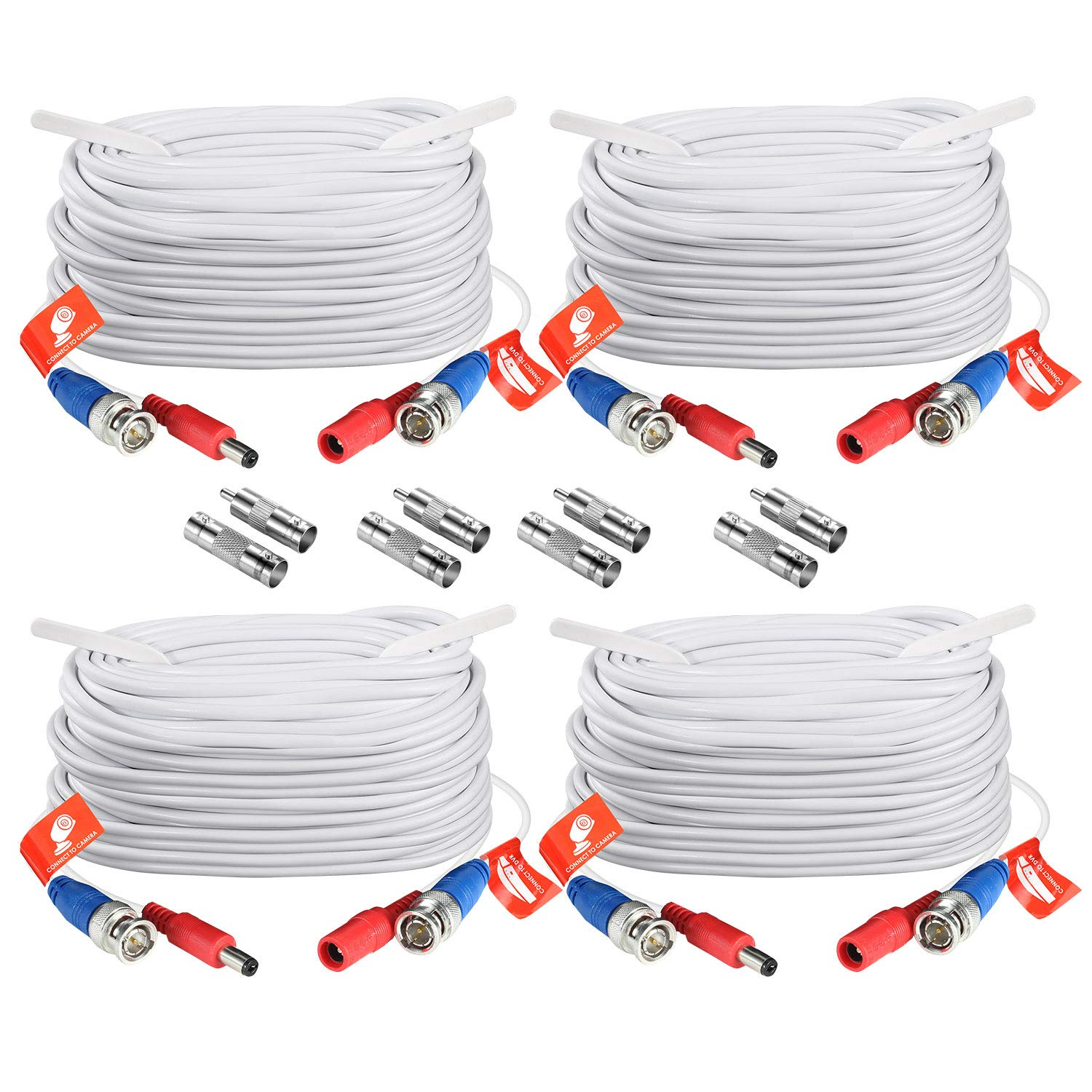 ZOSI 4 Pack 100ft (30 M) 2-in-1 Video Power Cable, BNC Extension Surveillance Camera Cables for Security Camera DVR Systems (White) by ZOSI