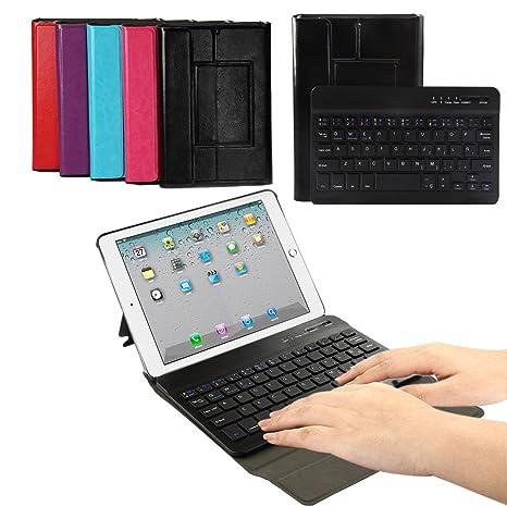 iPad mini 123 Funda Teclado,CoastaCloud Teclado Inalambrico QWERTY Español con Ultra Fino Cubierta Protectora Cuero ...