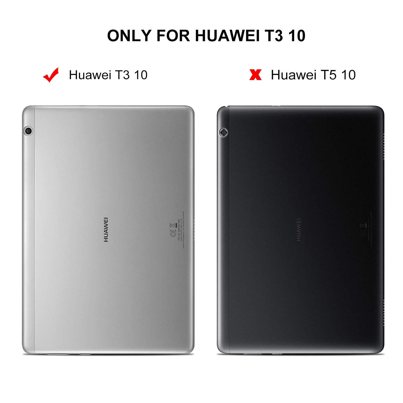 IVSO Huawei Mediapad T3 10 Teclado Estuche [QWERTY], Ultra Fino Slim Funda con Magnético Desmontable Wireless Teclado para Huawei Mediapad T3 10 (Oro Rosa): ...