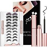 Magnetic Eyelashes with Eyeliner Kit, 10 Pair 3D 10 Style Magnetic Lashes with 2 Tubes of Magnetic Eyeliner, Reusable…