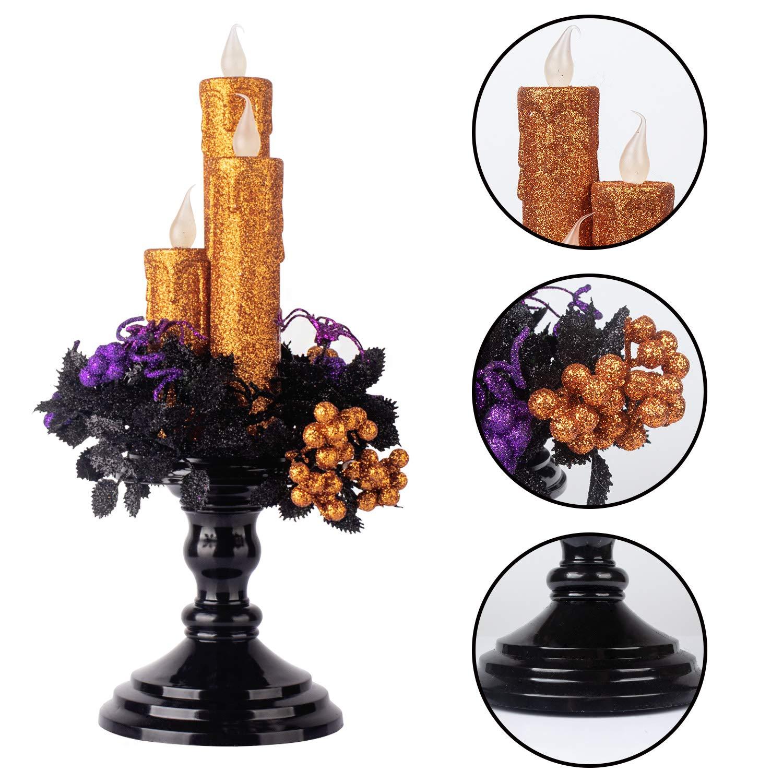 Amazoncom Ki Store Halloween Candelabra With Led Flameless Candles Holder