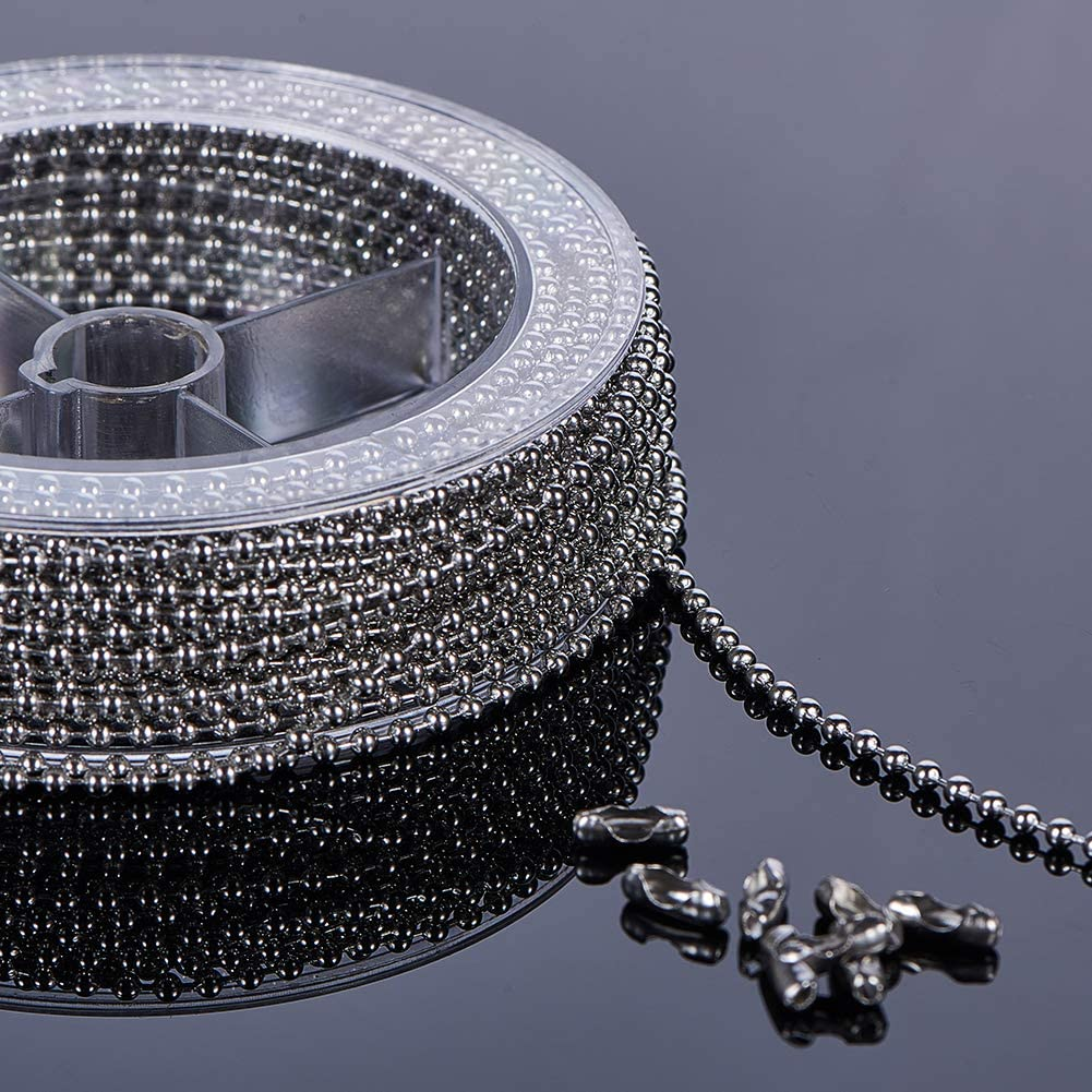BENECREAT 1.5mm 49 Feet//15M Stainless Steel Extension Beaded Chain Adjustable Ball Chain with 50PCS Matching Connectors Spool Packaged